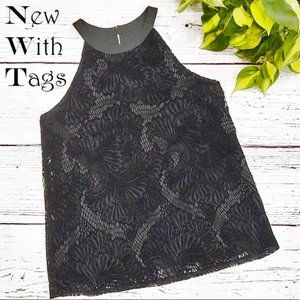 LOFT Black Velvet Lace Tank XS New With Tags NWT